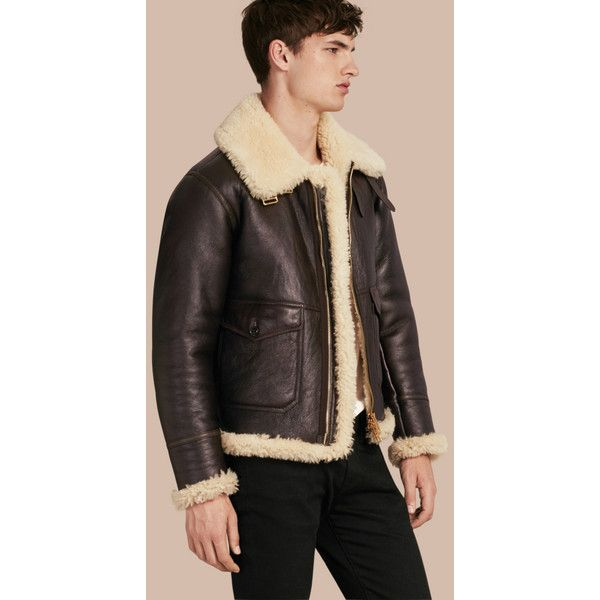 Burberry Shearling Aviator Jacket (£2,770) ❤ liked on Polyvore featuring outerwear, jackets, aviator jacket, shearling aviator jacket, collar jacket, shearling collar jacket and funnel neck jacket