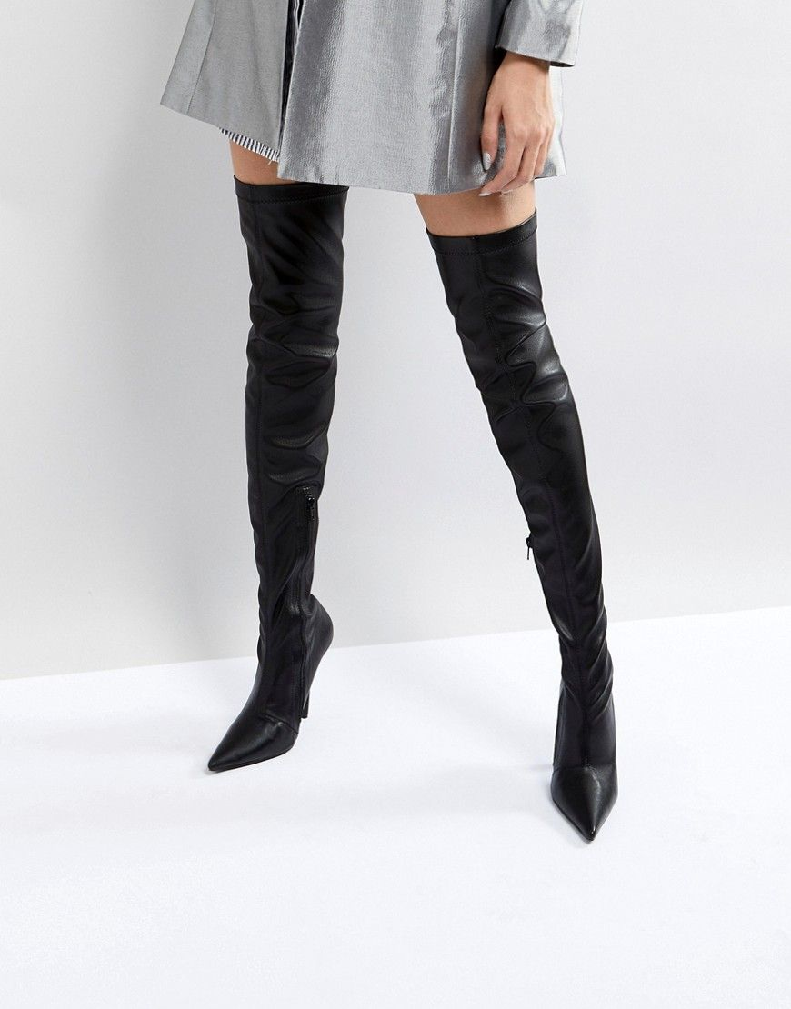 a1e86985f4c Public Desire Refuge Black Stiletto Over The Knee Boots - Black