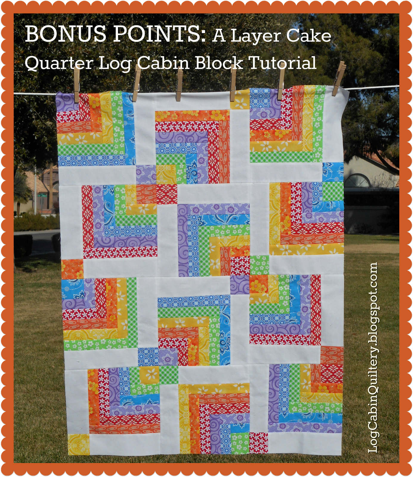 bonus points: a layer cake quarter log cabin block tutorial