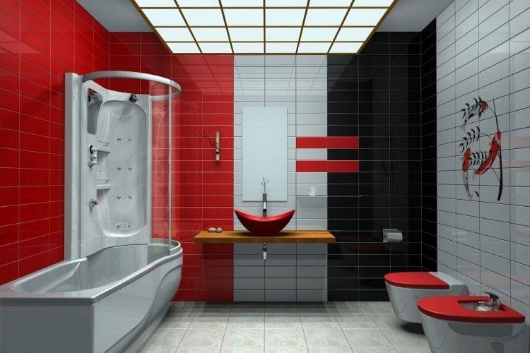 Best salle de bain rouge noir et blanc gallery amazing house