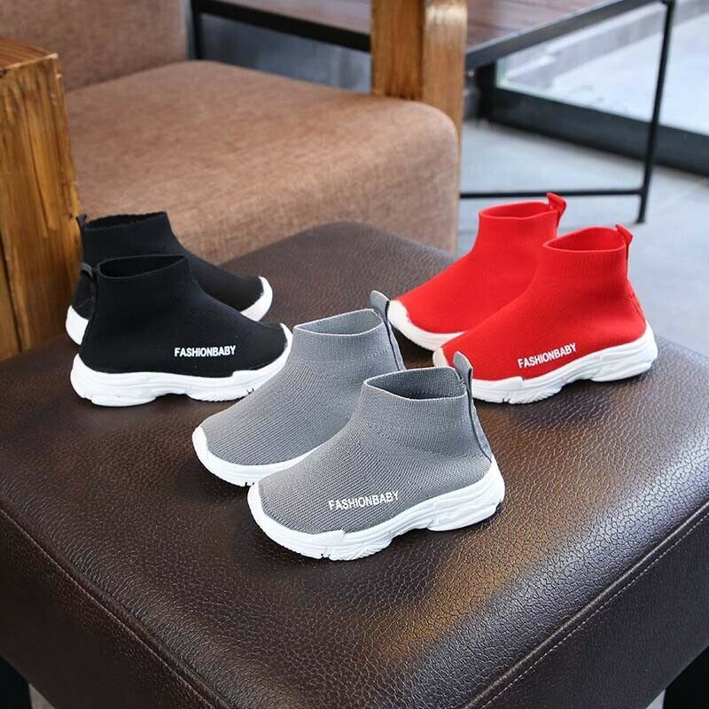 Kids Boys Girls Slip-On design Trainers breathable Casual Everyday Sneakers