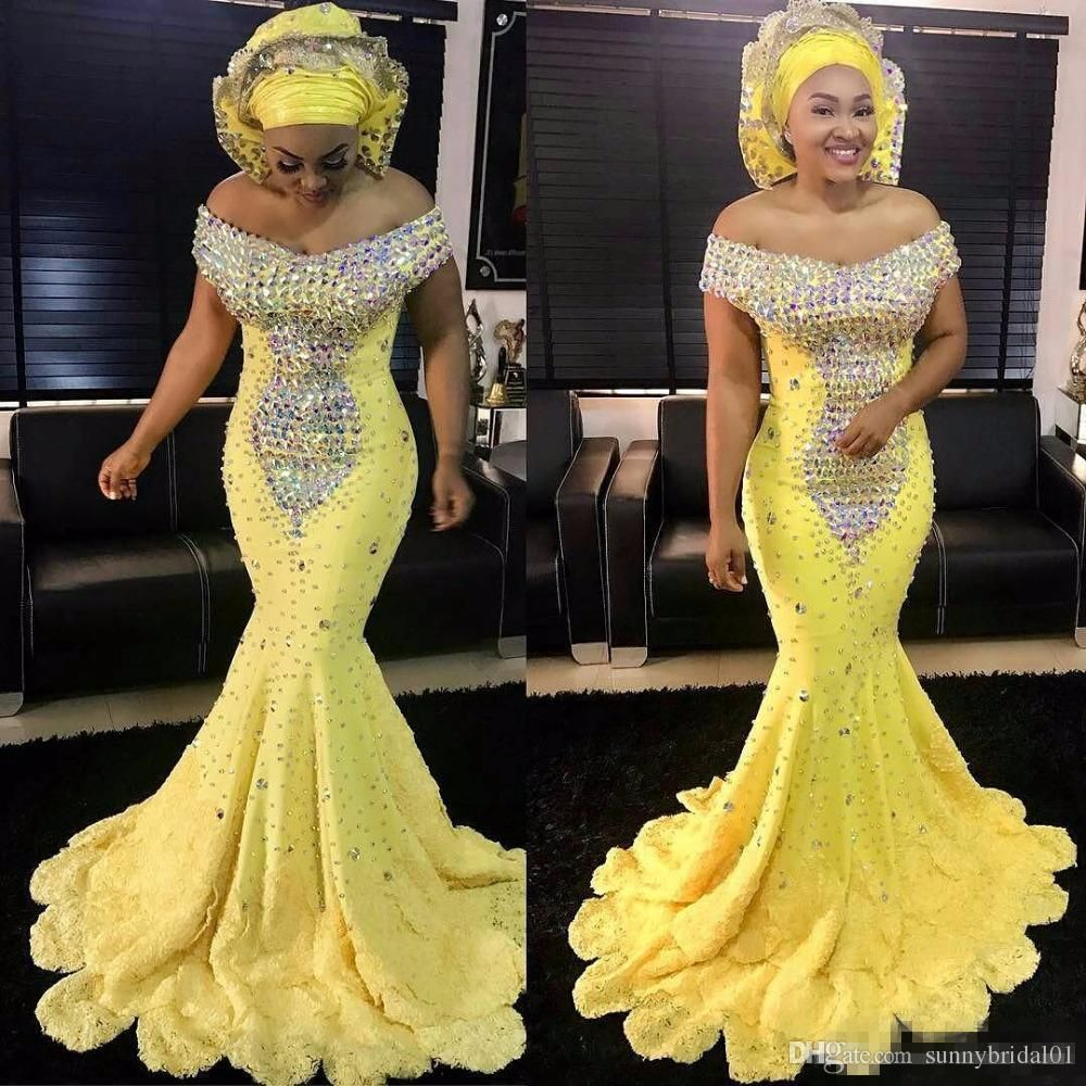 Gorgeous bright yellow mermaid african evening dresses off the