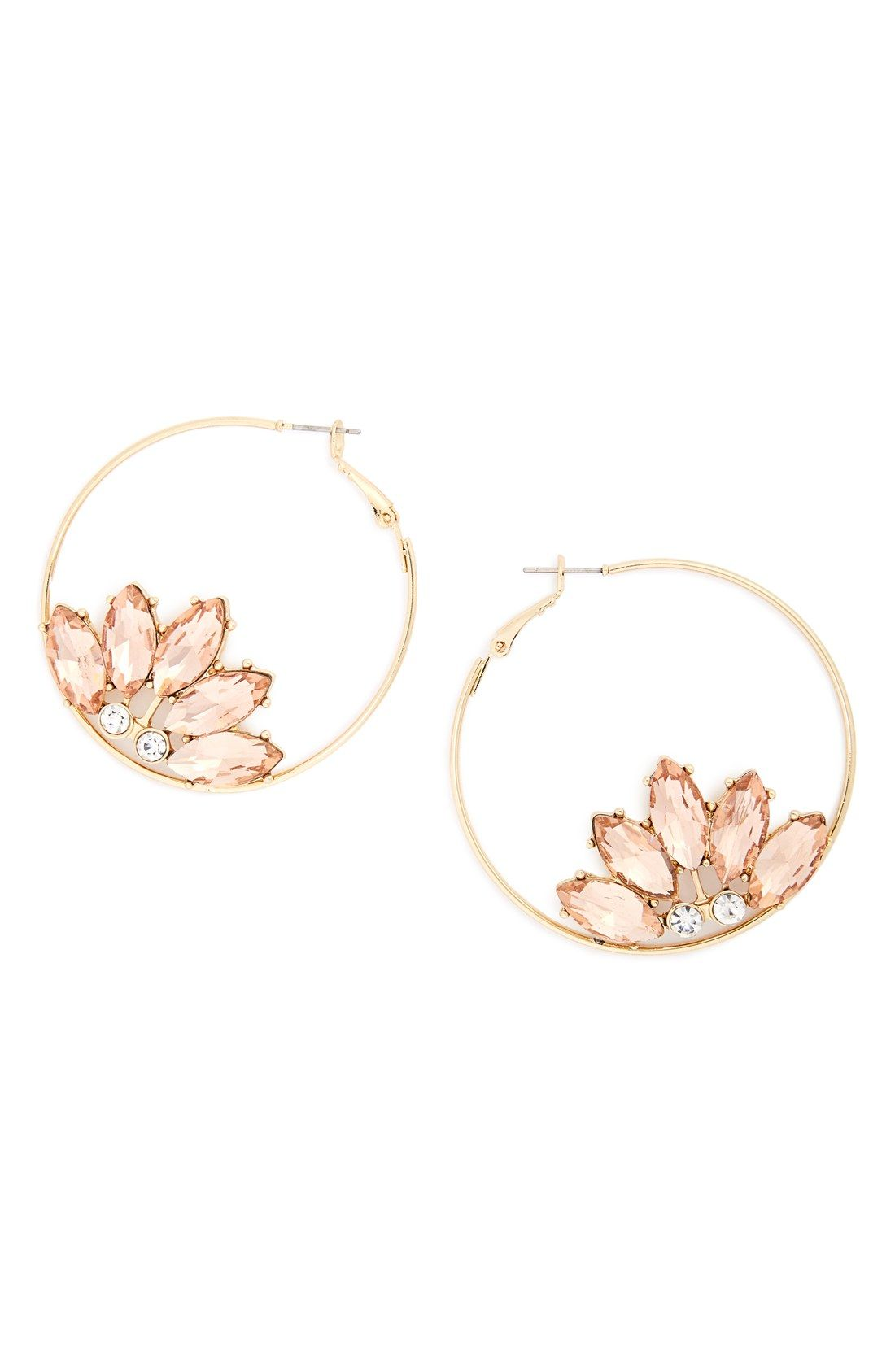 Crystal Flower Hoop Earrings More