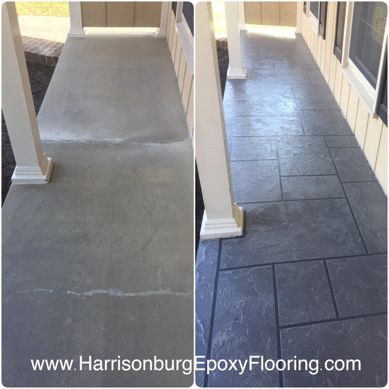 Porch Concrete Overlay Stained Concrete Slate Pattern