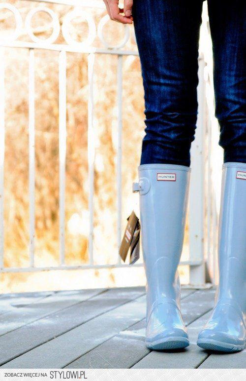 Stylowa Jesien Hunter Rain Boots Blue Hunters Hunter Boots