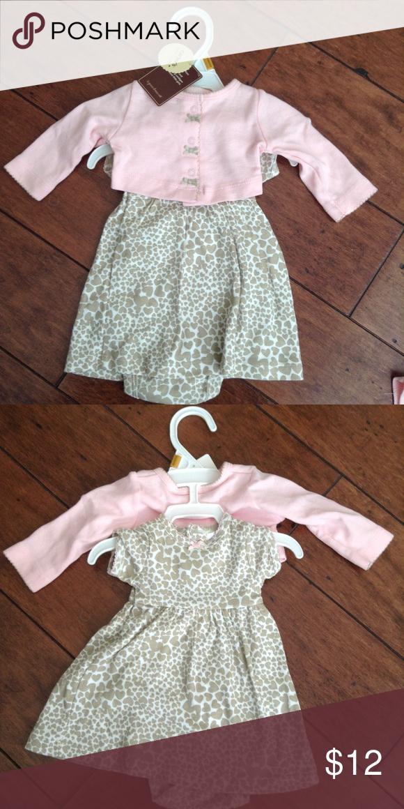 d0916a8c8 Carters pink brown heart dress sweater set NB Adorable newborn dress ...