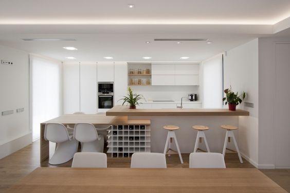Mesa comedor, botellero y barra cocina | decoracion ...