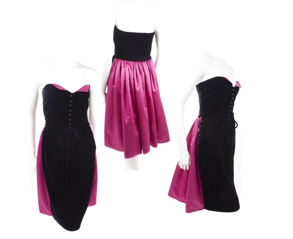 6b252aa2dd2 Vintage Valentino Boutique Black Velvet   Pink Satin Cocktail Dress ...