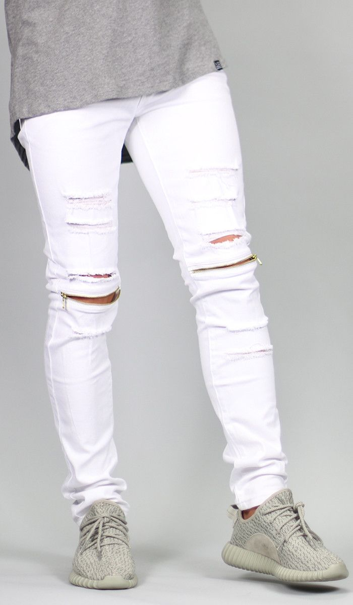 2222632ee0 White Knee Zipper pants | Mack's fashion | Ripped jeans men, White ripped  jeans, White pants men