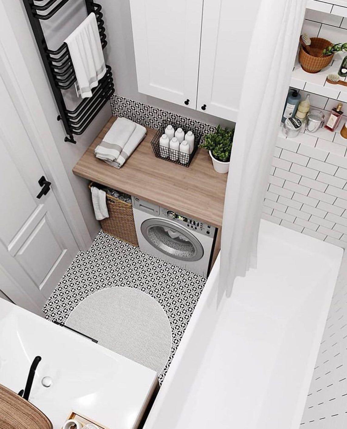 Gain De Place Petite Salle De Bain Sur Pinterest Pinterest Bain Petite In 2020 Stylish Laundry Room Small Bathroom Ideas On A Budget Small Bathroom