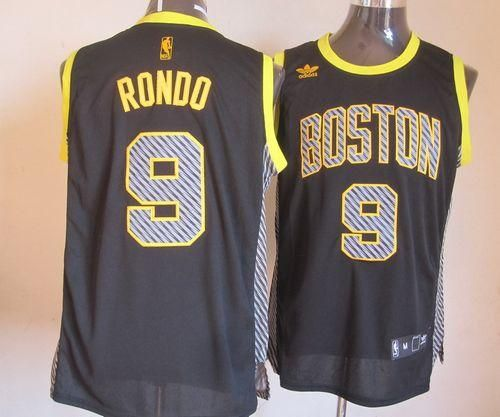 793f84b02b3 discount code for celtics 9 rajon rondo black electricity fashion  embroidered nba jersey only 25.50usd