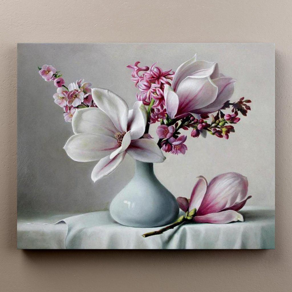 Magnolias In A White Vase Limited Edition Wall Art Pictures Wall Art Painting Magnolia Paint
