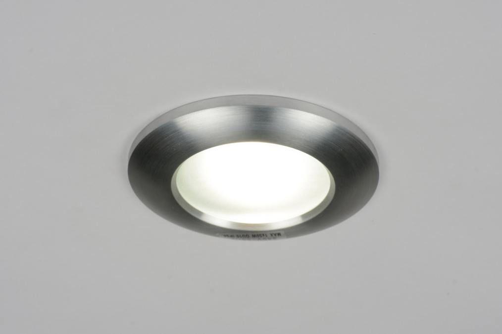 inbouwspot 70222: modern, geschuurd aluminium, glas, wit opaalglas