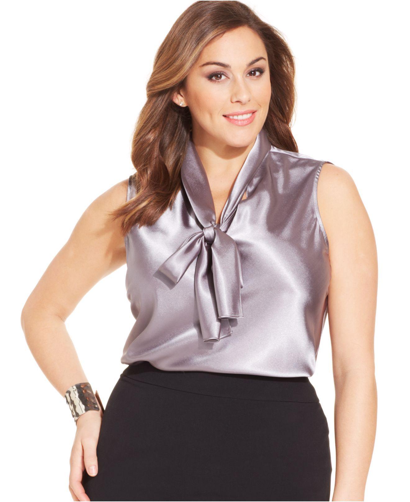 Nine West Plus Size Sleeveless Tie Neck Blouse In Purple Platinum