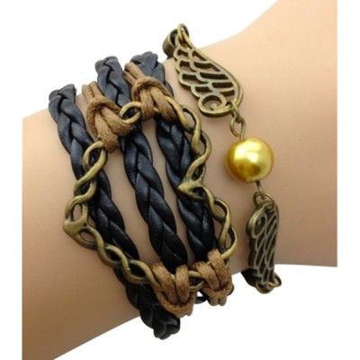 Black and Brown Heart and Wings Arm Party Bracelet - $12.00
