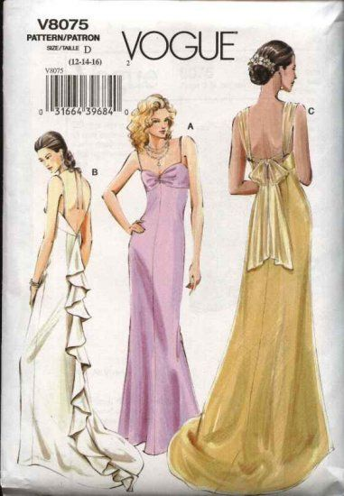 Vogue Sewing Pattern 8075 Misses Size 18-20-22 Formal Evening Gown ...