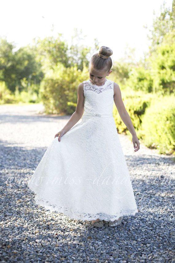 Lace flower girl dress, flower girl dresses, Lace girl dress, off white lace dress, ivory flower girl dress white lace,First Communion Dress