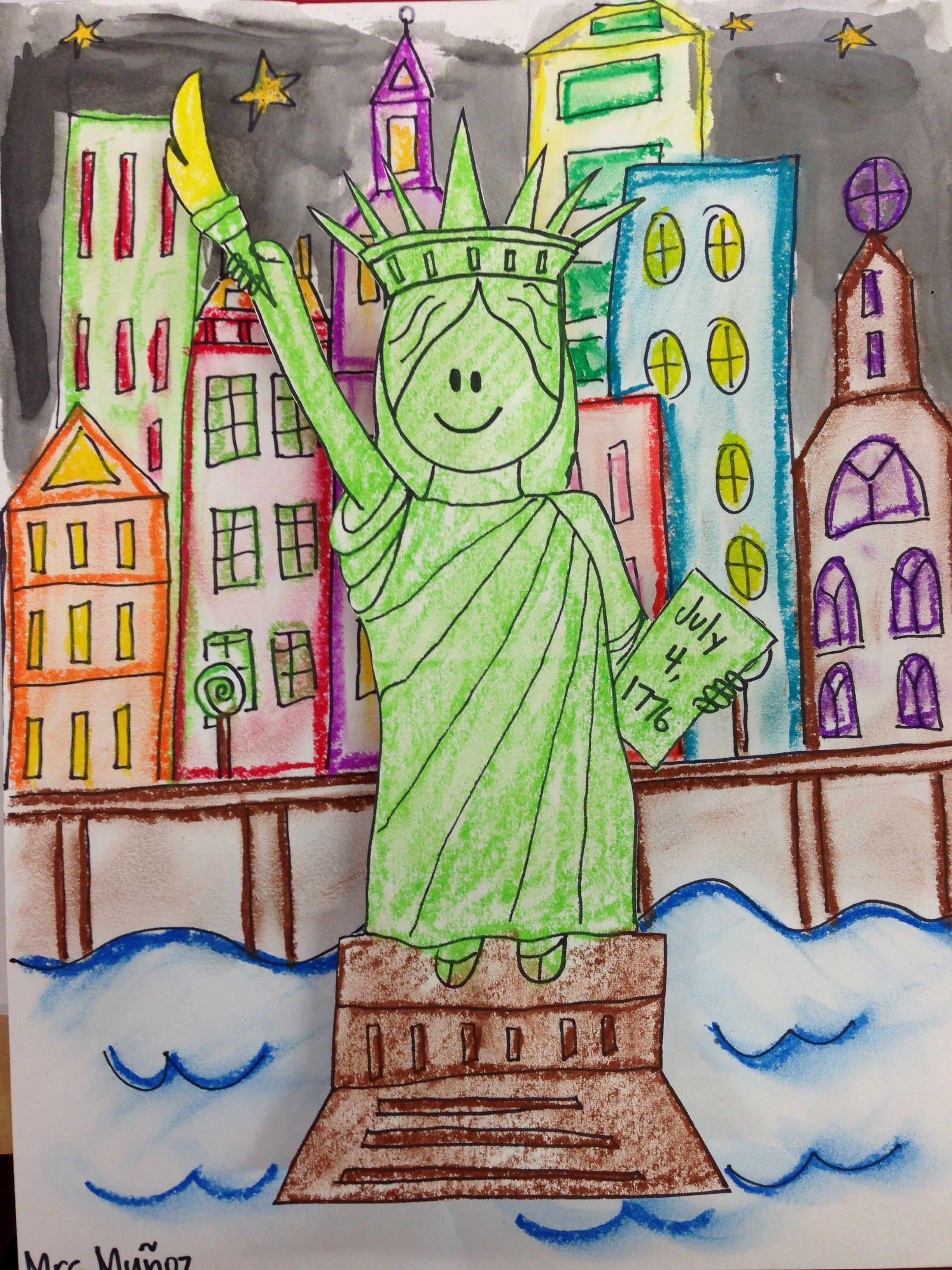 Statue of Liberty craft Directed draw | Immigration | Pinterest ...