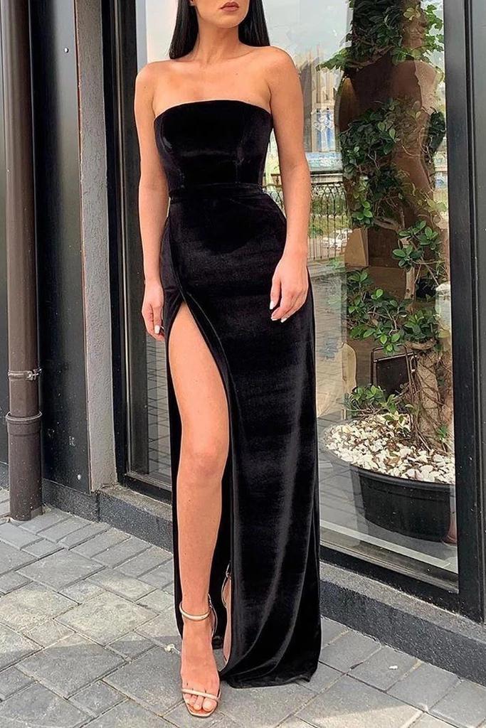 Sexy Black Strapless Slit Prom Evening Dress
