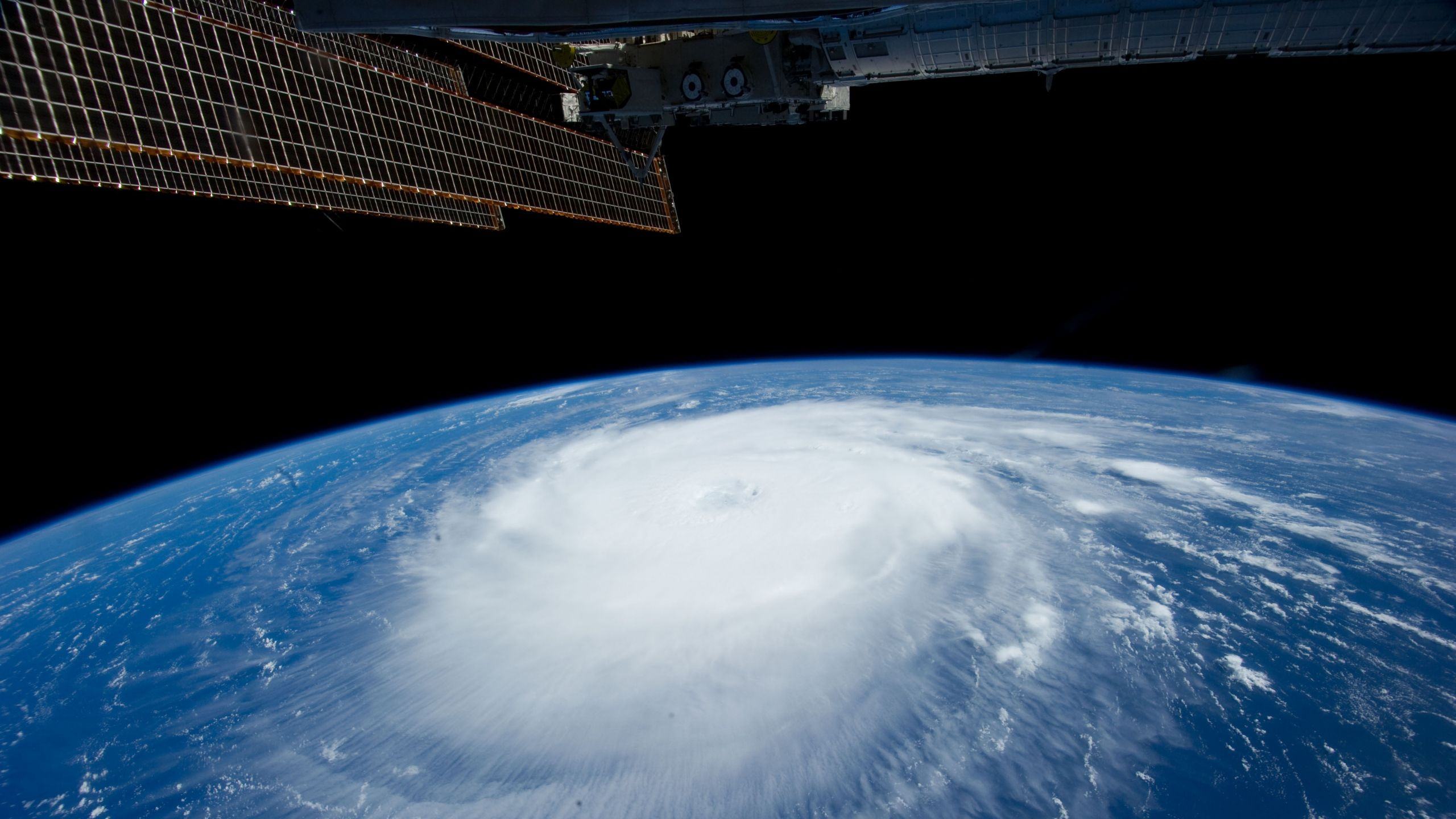 Download Wallpaper 2560x1440 Hurricane Iss Earth Clouds Storm Images Earth From Space Earth View