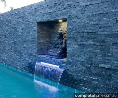 Feature Wall Of A Resort Style Pool From Malibu Pools.