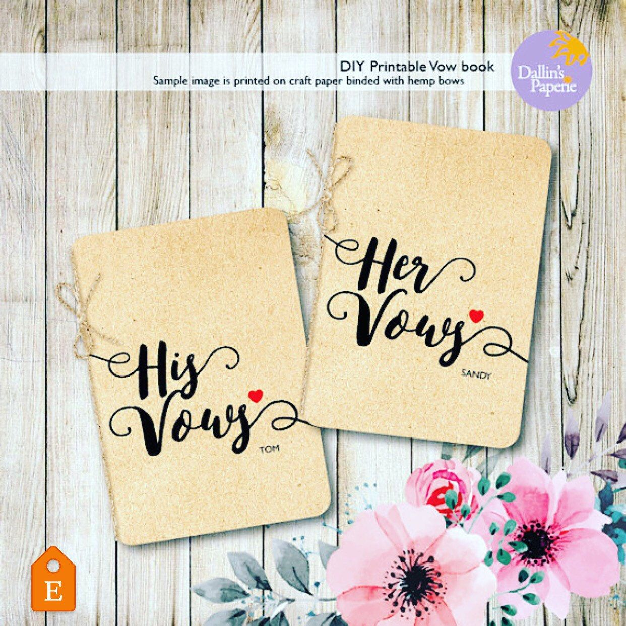 Wedding Vow Books, Printable vow books, DIY wedding vow ...