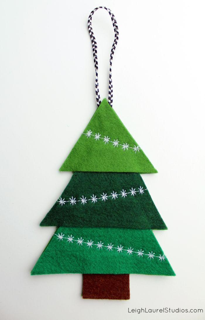 Felt Tree Ornament With Decorative Machine Stitching Felt
