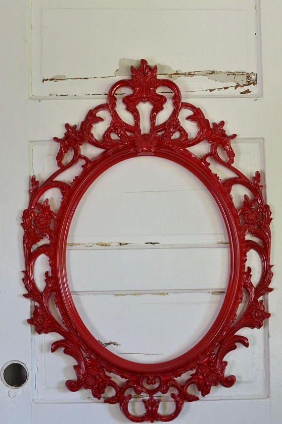 Oval Frame Red Ornate Wall Frame Wedding Photo Prop Large Decorative ...
