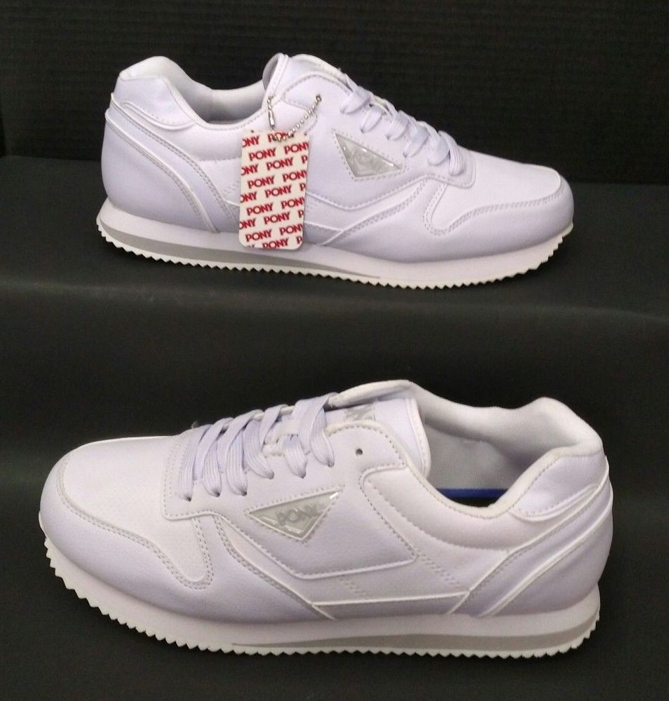 67d0bf04c14 Pony Spurt Tumbled Sport Casuals Athletic Sneakers Mens Size 10.5 White  Mono New  PONY  AthleticSneakers