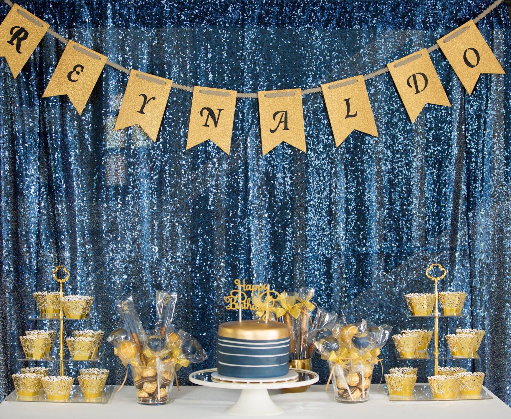 Reynaldo gold and royal blue DIY banner Royal blue and gold Party decor |  p… | Gold party decorations diy, Gold party decorations, Black and gold  party decorations