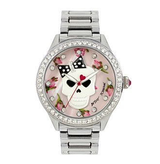 Betsey Johnson® Skull Floral Printed Dial Watch
