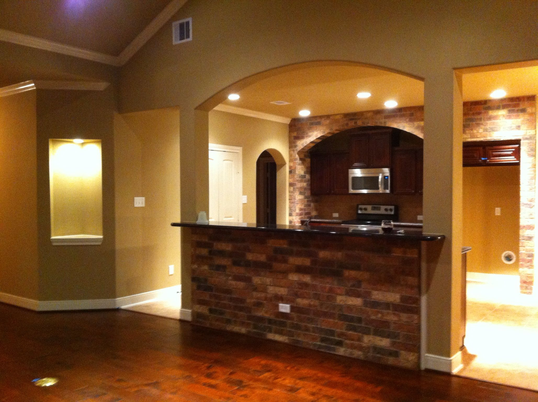 Best Brick Kitchen With Tan Brown Granite And Latte Walls 400 x 300