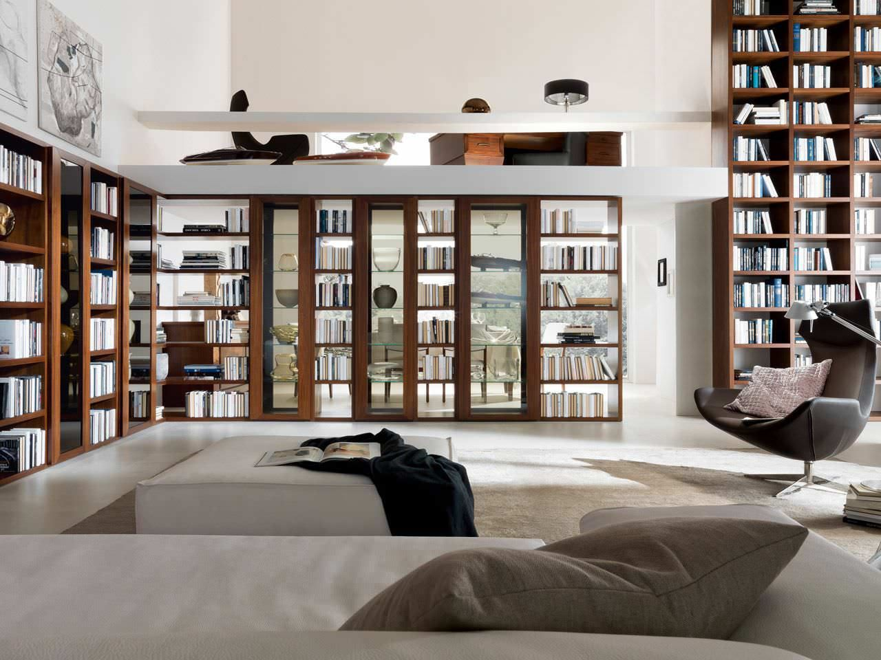 Awesome Home Library Furniture: Amazing White Home Library Design With Modern  Wooden Bookcase Furniture Ideas In