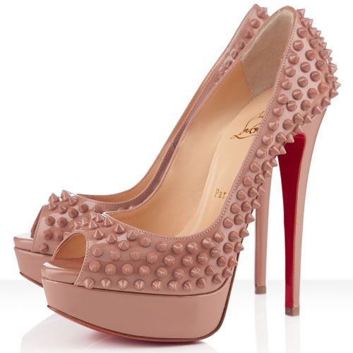 fe701399def9 Christian Louboutin Lady Peep Spikes 150mm Patent Leather Pumps Nude ...