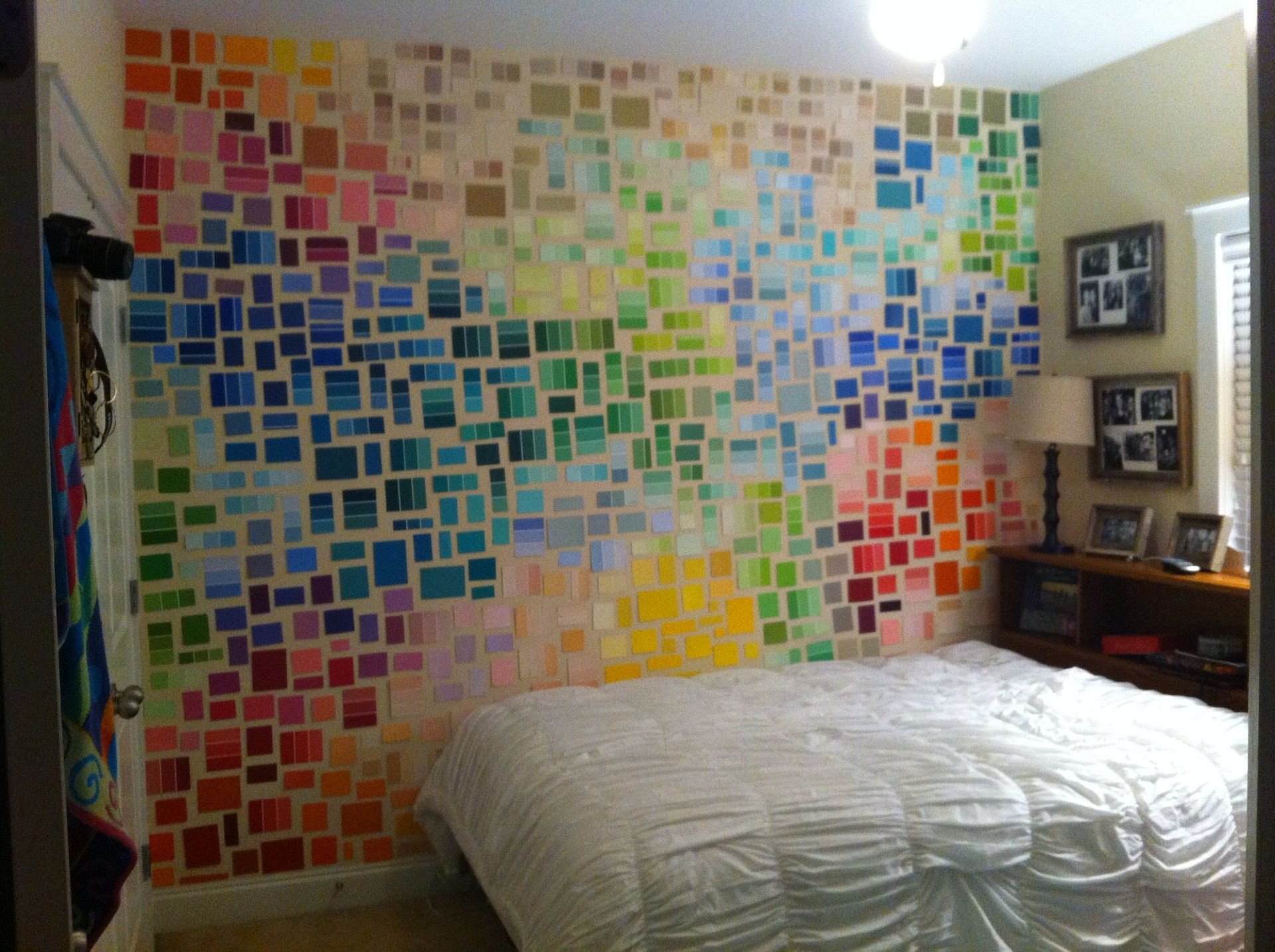 DIY room: paint chips + puddy do wonders | Paint sample wall ...
