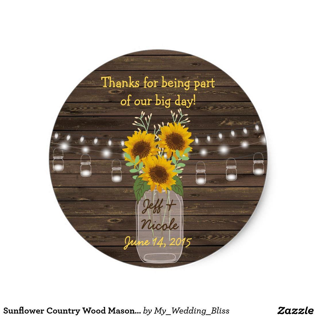 monogram wedding envelope seals sticker%0A Sunflower Country Wood Mason Jar Wedding Classic Round Sticker
