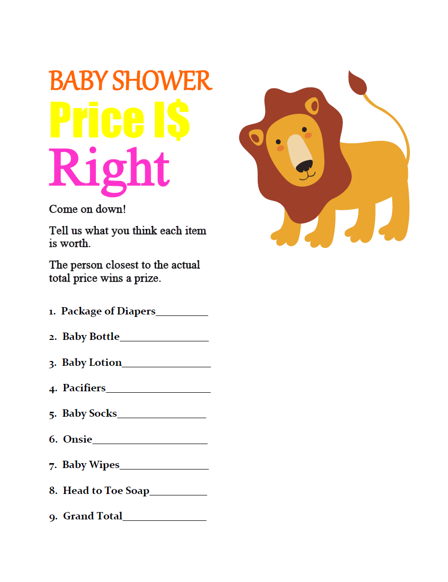 Lion baby shower game price is right party ideas for Baby shower cost
