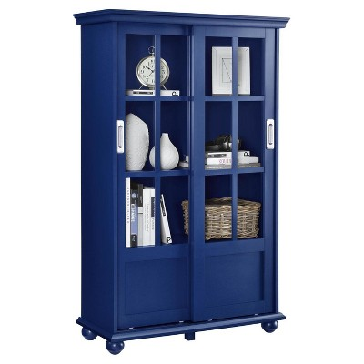 Aaron Lane Bookcase with Sliding Glass Doors - Navy ...