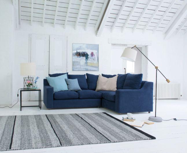 Bruges Floor Lamp Corner Sofa Living Room Blue Corner Sofas Corner Sofa