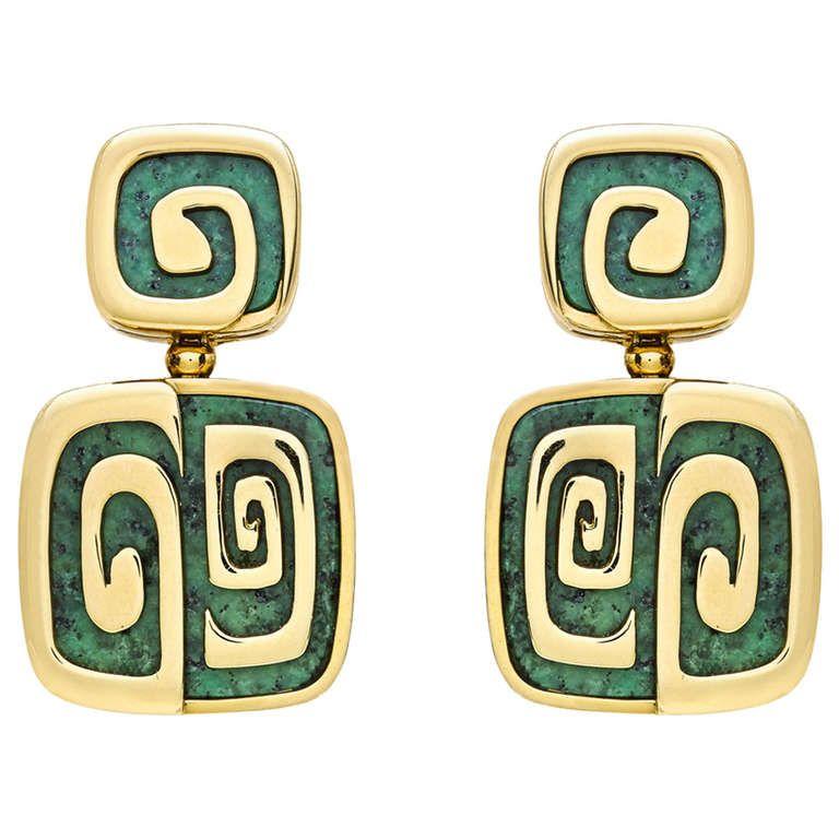 bulgari green garnet gold drop earrings