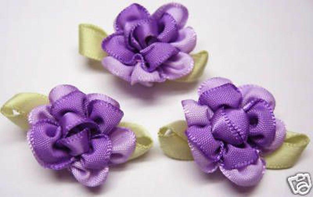Fancy 2 tone Satin Ribbon Flower Applique x 40 Lavender #Unbranded