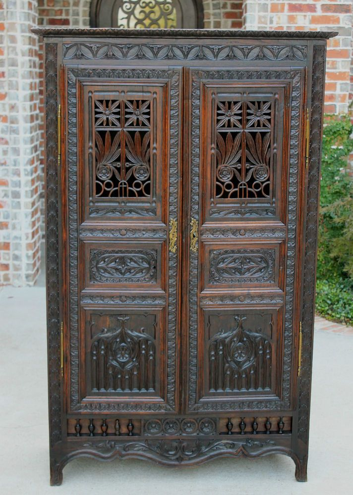 Antique French Highly Carved Oak Gothic Cabinet Cupboard Small Wardrobe 19th C In Antiques Furniture Cabinets Cupboards Ebay