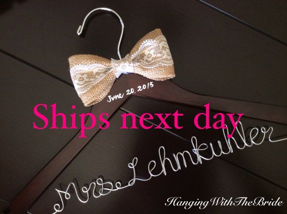 Rush listing Ships next business day, Burlap Wedding hanger, bridal hanger, bride gift, bridesmaids gift, custom made hanger