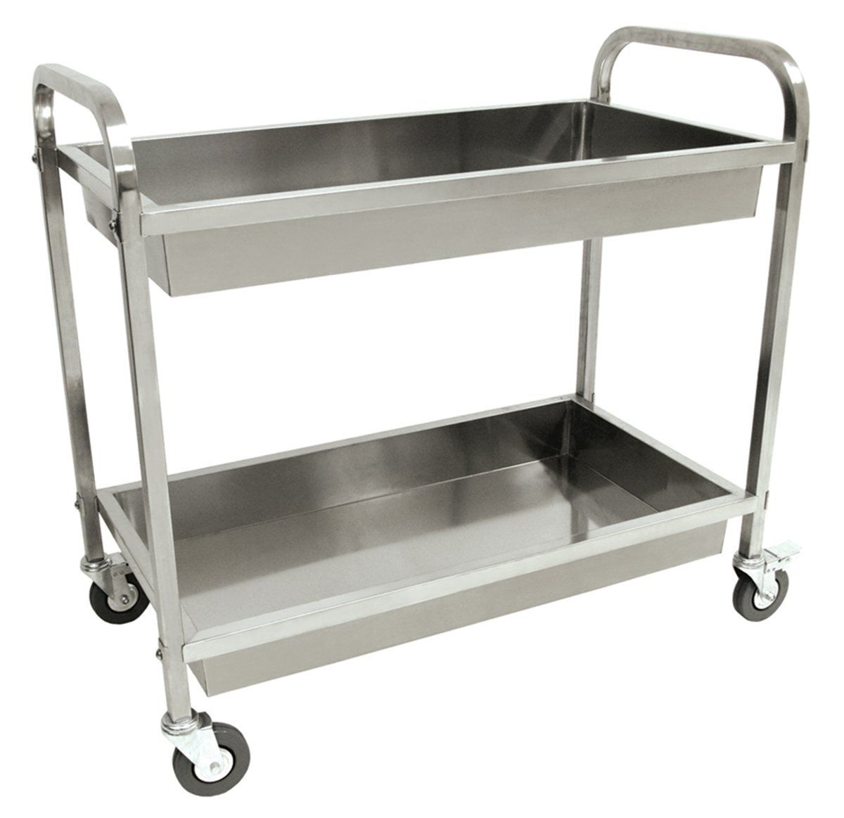 Bayou Clic Free Standing Stainless Steel Serving Cart 2 Levels Bar Maid New
