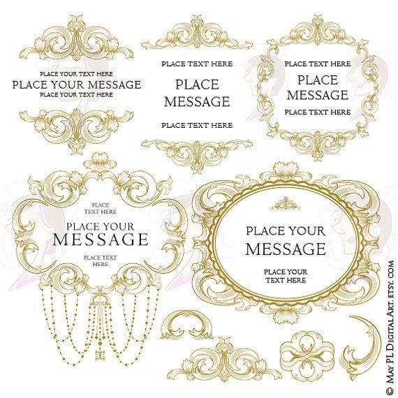 d3f84ccf895 Vintage Frame Clipart Antique Gold Baroque Flourish Swirls Ornamental  Decoration Digital Border DIY Wedding Scrapbook Craft Supply 10672   AntiqueGoldFrame ...