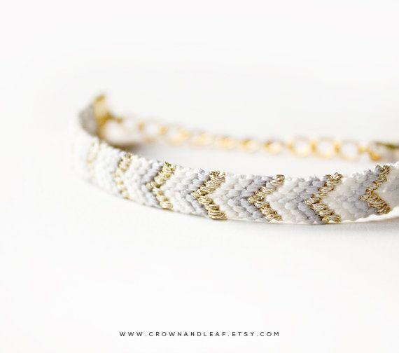 Muted Grey Chevron Gold Chain Friendship Bracelet Woven Etsy Unique Friendship Bracelets Friendship Bracelets With Beads Chevron Friendship Bracelets