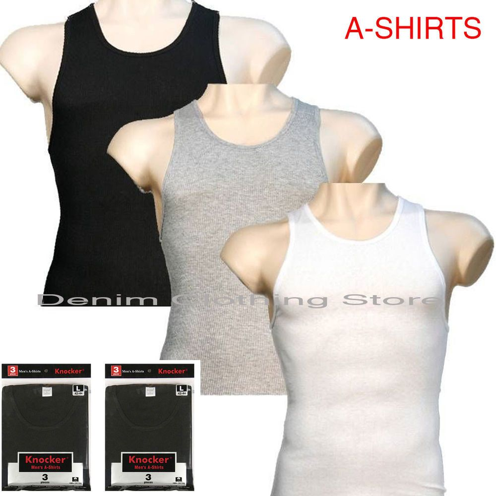 d3891754475e0 Lot Of 3 Men Tank Top 100% Cotton A-Shirt Wife Beater Ribbed Pack Undershirt   Knocker  BasicTee