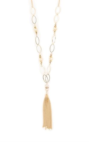 Long Necklace with Tassel and Beads