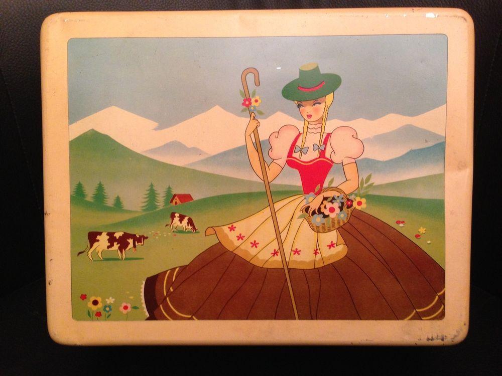 Scatola di latta - Caramelle Elah - Raffigurante ragazza e scena di montagna
