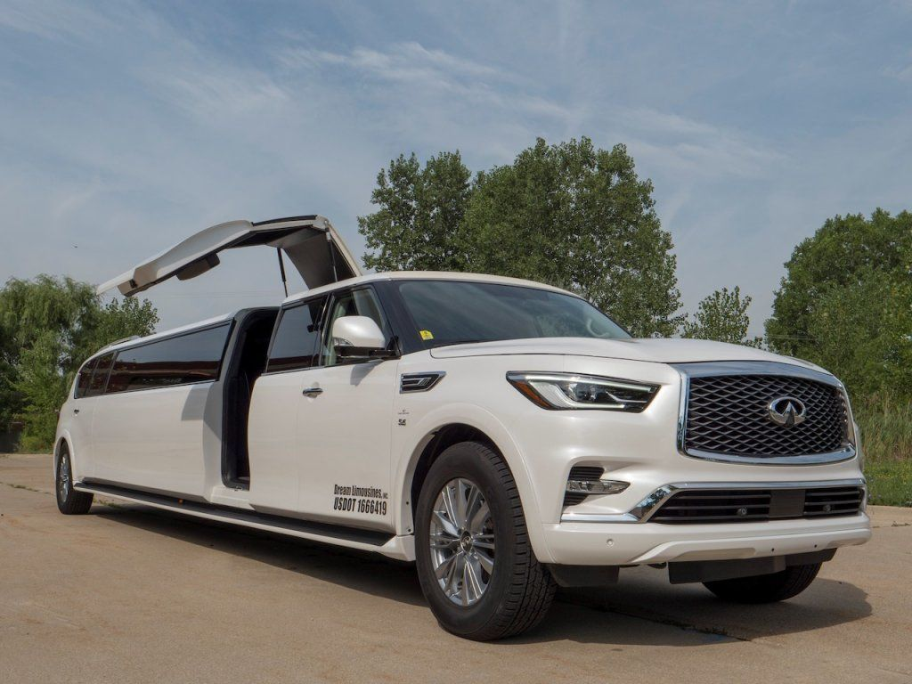 Luxury Vehicle Infiniti Qx80 Stretch Dream Limousines Inc We Specialize In Your Wedding Or Night Out Wedding Weddingtr Infiniti Limousine New Infiniti